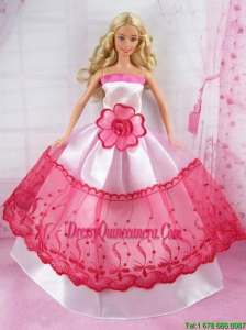 Romantic Pink and Red Princess Dress With Flower Made to Fit the Barbie Doll