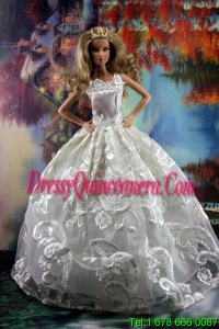 Romantic White Gown With Embroidery Dress For Barbie Doll