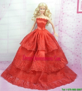 Rust Red Princess Dress With Embroidery Gown For Barbie Doll
