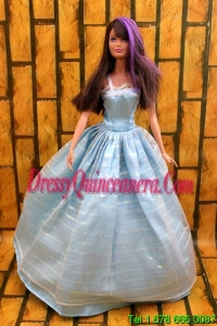 Simple Baby Blue Floor-length Dress For Noble Barbie