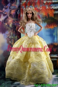 The Most Amazing Yellow Dress With Hand Made Flowers To Fit The Barbie Doll