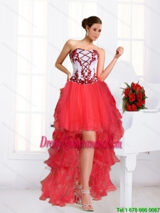 2015 Beautiful Coral Red Dama Dresses with Embroidery and Beading
