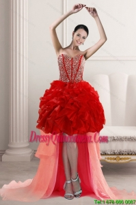 2015 Beautiful High Low Dama Dresses with Beading and Ruffles
