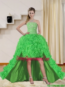 2015 Beautiful Spring Green High Low Dama Dresses with Beading
