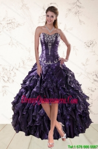 2015 Exclusive Purple High Low Dama Dresses for Spring