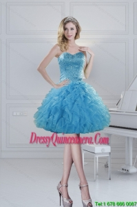 2015 Popular Ball Gown Baby Blue Beading Dama Dresses for Spring