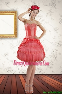 2015 Popular Strapless Coral Red Dama dress with Ruffled Layers