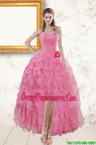 2015 Rose Pink Sweetheart Dama Dresses with Beading and Ruffles