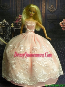 Baby Pink and Lace Handmade Dresses Fashion Party Clothes Gown Skirt For Barbie Doll