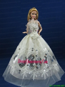 Beautiful White Dress With Sequins Made To Fit The Barbie Doll