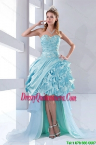 Discount Beaded Sweetheart High Low Ruffled Dama Dresses for 2015