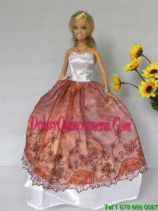 Elegant Rust Red and White Strapless Lace Made to Fit the Barbie Doll