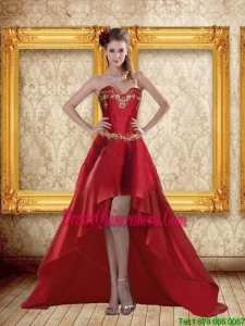 Fashionable High Low Sweetheart Wine Red Beading Dama Dresses