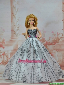 Grey Organza and Appliques Made To Fit the Barbie Doll