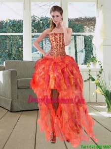 High Low Multi Color Strapless Dama Dresses with Beading and Ruffles