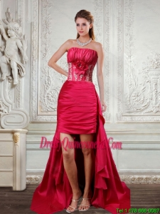 High Low Strapless Ruffled Coral Red Dama Dresses with Hand Made Flower