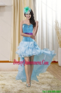 High Low Sweetheart Dama Dresses with Ruffles and Beading