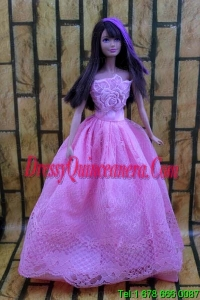 Lavender Party Dress For Barbie Doll Dress With Embroidery