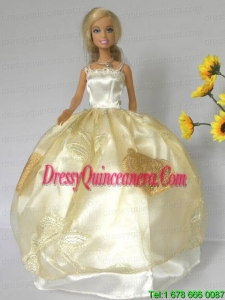 Light Yellow Straps Appliques Handmade Dresses Fashion Party Clothes Gown Skirt For Barbie Doll