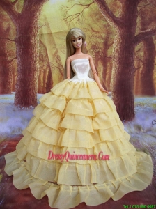 Light Yellow and Ruffled Layers for Barbie Doll Dress