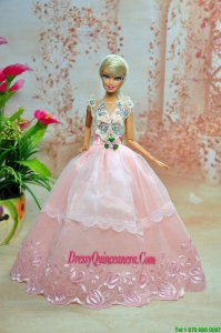 Luxurious Baby Pink Appliques With Flooe-length Wedding Dress For Barbie Doll