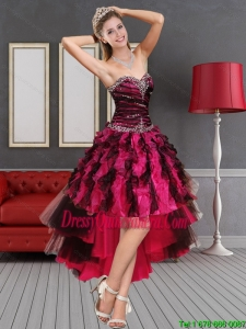 Multi Color High Low Sweetheart Dama Dresses with Beading and Ruffles