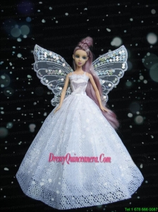 New Amazing White Handmade Party Dress Barbie Clothes Gown For Barbie Doll