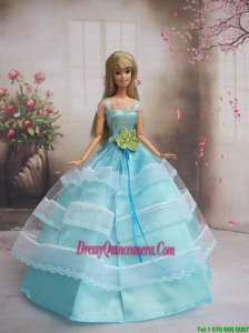 New Baby Blue Handmade With Sash Party Dress Barbie Clothes Gown For Barbie Doll