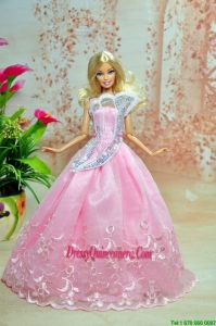 Pink Lovely Party Dress For Barbie Doll Dress With Embroidery