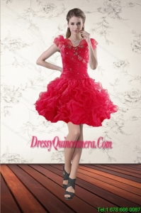 Popular Beaded Sweetheart Red 2015 Dama dress with Ruffled Layers