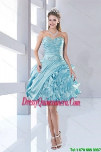 Popular Sweetheart Beaded 2015 Dama Dresses in Aqua Blue