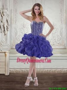 Popular Sweetheart Beaded 2015 Dama Dresses with Ruffles