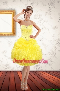 Popular Sweetheart Beaded and Ruffled Yellow Dama Dresses for 2015 Spring