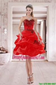 Popular Sweetheart Red 2015 Dama Dresses with Embroidery and Ruffles