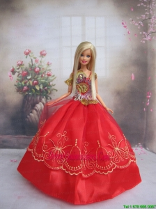 Pretty Gown With Red Applqiues StrapsMade to Fit the Barbie Doll