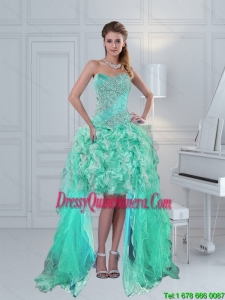 Pretty High Low Sweetheart Ruffled Beaded Dama Dress in Apple Green