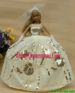 Roamntic Champagne Straps Ball Gown Appliques Wedding Dress For Barbie Doll