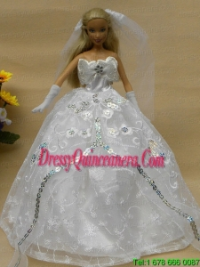 Romantic Appliques White Strapless Wedding Dress For Barbie Doll