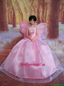 Rose Pink Straps Ball Gown Made to Fit the Barbie Doll