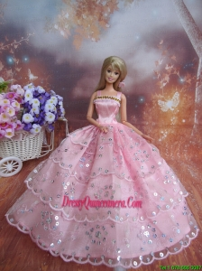 Sequin Decorate Fashion Princess Pink Dress Gown For Barbie Doll