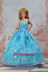 So Beautiful Baby Blue Sweetheart Ruffed Layeres Appliques Made to Fit the Barbie Doll