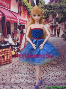 Sweet Blue Strapless Appliques Made to Fit the Barbie Doll