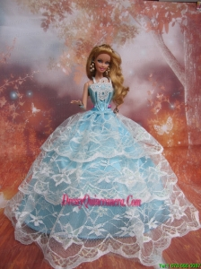 Sweet Lace Over Skirt to Light Blue Barbie Doll Dress