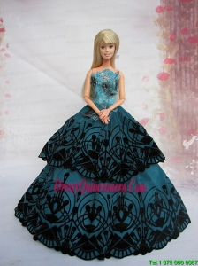 Teal A Line Dress Noble Barbie With Appliques and Floor Length