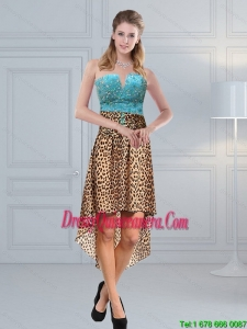 Unique Beaded Leopard Printed 2015 Dama Dresses in Aqua Blue