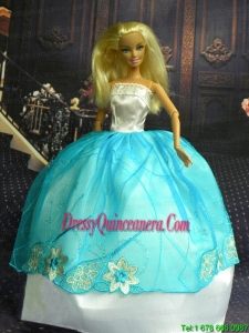 White and Blue Ball Gown Appliques Made to Fit the Barbie Doll