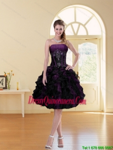 2015 Popular Multi Color A Line Ruffled Strapless Knee Length Dama Dress with Beading