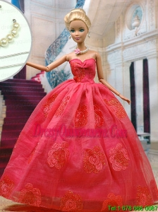 Beautiful Organza Red Party Clothes Fashion Dress for Noble Barbie Doll