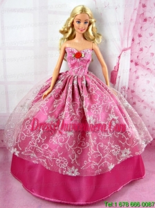 Beautiful Red Party Tulle Clothes Fashion Dress Hot Pink for Noble Barbie Doll