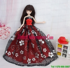 Black and Red Ball Gown Embroidery Barbie Doll Dressc